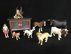 Schleich Animal Figures Girl Baby Horse Dog Bull Goat Fairy And Small Animal Hutch