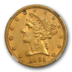1891 Cc 5 Liberty Head Half Eagle Gold Piece Ngc Au 58 Cac Approved Cert8004