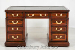 Antique Pedestal Desk By Maple And Co - Mahogany Writing Table 1880
