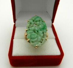 Antique Deco Apple Green Carved Flower Jade Jadeite Ring In 14k Yellow Gold 7.5