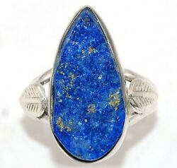 Leaf Lapis Lazuli -afghanistan 925 Sterling Silver Ring Jewelry Sz 6 Ed32-5