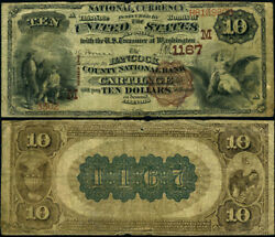 Carthage Il-illinois 10 1882 Bb National Bank Note Ch 1167 Hancock County Nb V