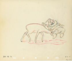 Disney Snow White- Doc And Deer- Original Production Drawing-1937