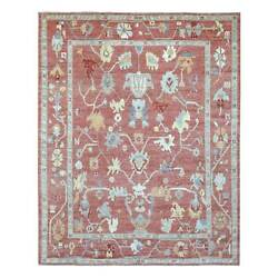 9'4x11'7 Coral Red Angora Oushak Organic Wool Hand Knotted Oriental Rug R69290