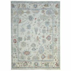8'9x12' Hand Knotted Ivory Angora Oushak Natural Wool Oriental Rug R69622
