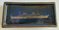 1960's Swedish American Boat Line Silver Inlay Coin Dish Art Pottery Nautical