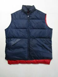 Crestview Mens L Blue Reversible Red Puffy Vest Full Zip Pockets Insulated Warm