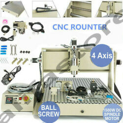 4 Axis Cnc 6090 Router Ball Screws Engraver Engraving Drilling Milling Machine