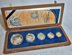 2004 S. Africa Mint 5 Coin Silver And Gold Proof Set Wildlife Series - The Leopard