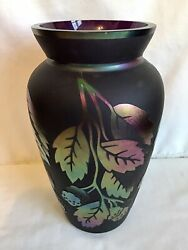 Fenton Art Glass Plum Limited Edition Sand Carved Leaves Of Gold Vase 737/950