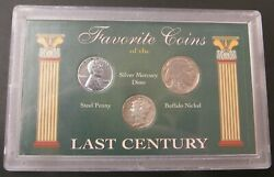 Favorite Coins Of The Last Century 3 Coin Set Mercury Dime Buffalo Steel Cent