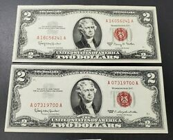 2 Note Set 1963 + 63 A 2 Dollar Red Seal Legal Tender Vf+ Bills Neat Serial S
