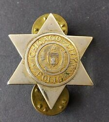 Antique Obsolete Small Chicago Cityillinois Police Badge Pin Old
