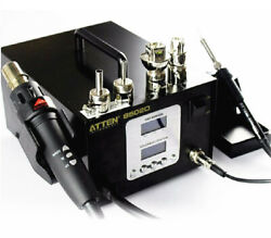 Atten At-8502d 2 In1 Dual Lcd Hot Air Rework Staion+ Iron Soldering Station 220v