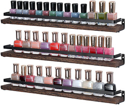 Nail Polish Rack Organizer Wall Mounted Essential Oil Holder 3 Pack Rustic