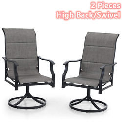 2 Pieces Swivel Patio Chairs Outdoor Dining Chair Metal Rocking Garden Furniture