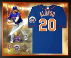 Pete Alonso New York Mets Signed Blue Nike Authentic Jersey Framed