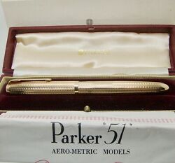 Perfect Parker 51 Gold 9ct Presidential Box, Outer Box, Instructions Obb Nib