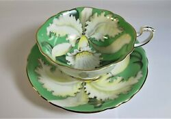 Rare Paragon England Double Warrant White Orchid On Green Tea Cup And Saucer Set