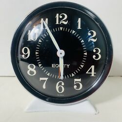 Equity Alarm Clock MCM Model A502 White Metal Wind Up