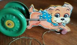Vintage Wooden Dog Pull Toy N.n. Hill Brass Co. Metal Wheels Excellent Condition