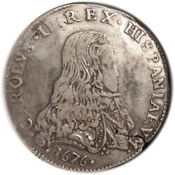1676 Italy Milan Duchy Charles Ii Of Spain. Silver Filippo Coin. Ngc Vf-30