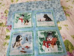 *NEW WITHOUT TAGS SMALL FABRIC PANEL BLUE PUPPIES IN SNOW BACKING INCLUDED