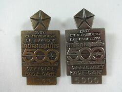 1987 Indianapolis 500 Bronze And Silver Pit Badge Al Unser