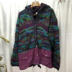 Vtg Coogi Wool Knitted Hoodie Sweater Jacket Size L Made In Australia No.7040