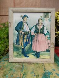 Vintage Beautiful Spanish Picture Painting Print Framed Wall Hanging Wall Decor