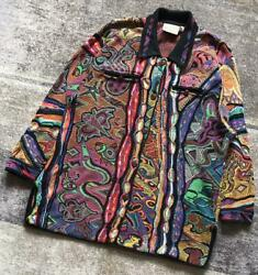 Vtg Coogi Cotton Knitted Cardigan Sweater Size M Made In Australia List No.608
