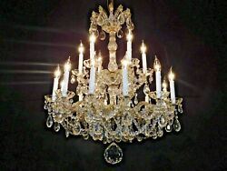 Antique C. 1950s 18 Arm 18 Lite Rare Form Maria Theresa Crystal Chandelier
