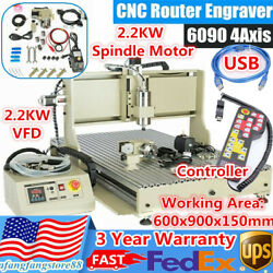 Usb Cnc 6090 Router 4-axis Engraver Milling Machine Metal Woodworking 2.2kw + Rc