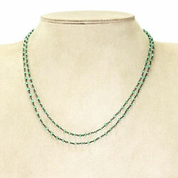 Raw Emerald Beaded Necklace May Birthstone Gift Solid 925 Sterling Silver