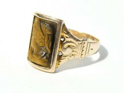 Antique Victorian Gents Signet Seal Ring Carved Tigers Eye Cameo Rose Gold Usa