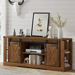 Farmhouse Tv Stand W/sliding Barn Door Console Table Storage For Tv Up To 75 Us