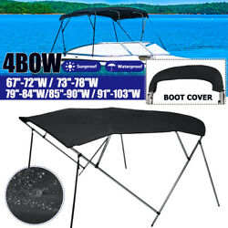 Black Bimini Top 4 Bow Boat Cover 54 H 67-103 Wide 8ft L W/ Rear Poles And Boot