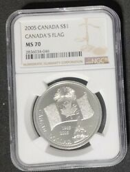 2005 Canada 1 - 40th Anniv Canada's National Flag - Ngc Ms70 - 999 Silver Coin