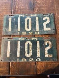 New Hampshire Nh 1920 License Plate Pair Green 11012 Uncleared Condition
