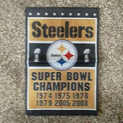 Pittsburgh Steelers 17x12 Two Sided Championship Banner