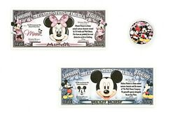 Disney Minnie And Mickey Mouse Beautiful Coin And 2 Fantasy Paper Money Notes