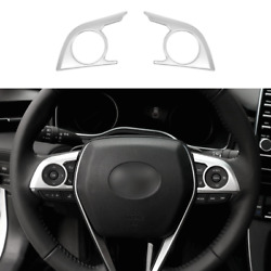 Matte Silver Steering Wheel Switch Cover Trim 2pcs For Toyota Avalon 2019-2021