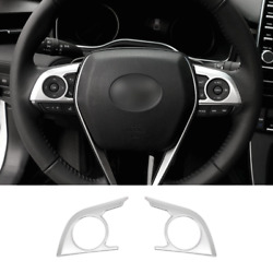 For Toyota Avalon 2019-2021 Matte Silver Steering Wheel Button Cover Trim 2pcs
