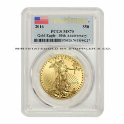 2016 50 Eagle Pcgs Ms70 First Strike American Gold Bullion 1 Oz Coin Flag Label