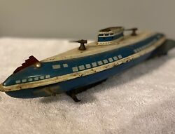 1940's Vintage Wolverine Usa Wind Up Tin Lithograph Toy Submarine.no Windup Key.