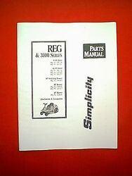 Simplicity 8 Hp And 10 Hp Reg And 3100 Series Rear Engine Riding Mower Parts Manual