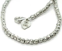 18k White Gold Chain Finely Worked Spheres 2.5 Mm Diamond Cut Balls, 16, 40 Cm