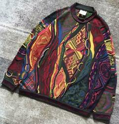 Vintage Coogi Cotton Knitted Sweater Size L Made In Australia Multicolor No709