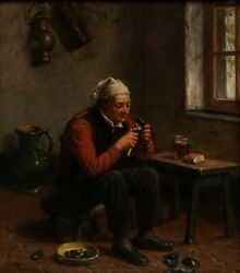 Constant Van De Wyngaert Signed Oil Painting On Panel Of Gent, Mussels And Beer