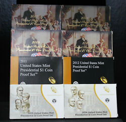 2007 2014-s Us Presidential Dollar Proof Coin Sets Ogp And Coa 19xo